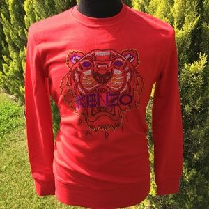 KENZO Men's Tiger Sweat Red Cotton NWT Xlarge